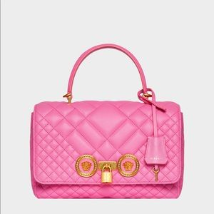 Versace pink quilted dual carry